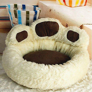Luk Oil Paws Dog Bed Plush Dog Bed Round Kennel Cat Litter Teddy Pet Dog Bed (Brown)