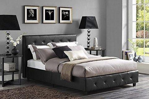 Dhp Dakota Faux Leather Upholstered Platform Bed, Queen, Black