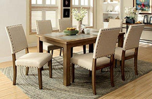Furniture Of America Lucena Transitional Stone Top Dining Table