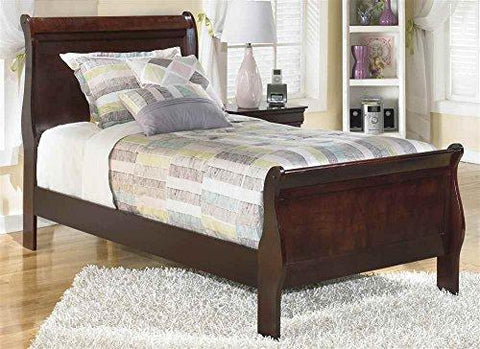 Twin Sleigh Bed In Dark Brown Finish