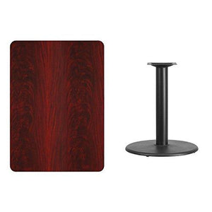 30\'\' X 42\'\' Rectangular Mahogany Laminate Table Top With 24\'\' Round Table Height Base