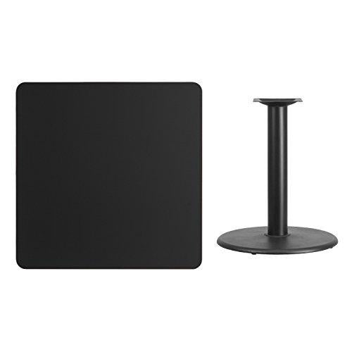 36\'\' Square Black Laminate Table Top With 24\'\' Round Table Height Base