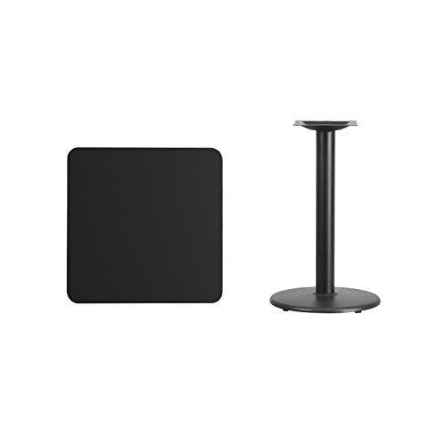 24\'\' Square Black Laminate Table Top With 18\'\' Round Table Height Base