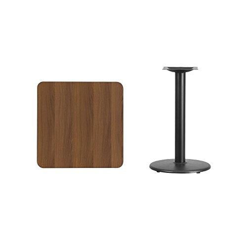 24\'\' Square Walnut Laminate Table Top With 18\'\' Round Table Height Base