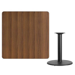 42\'\' Square Walnut Laminate Table Top With 24\'\' Round Table Height Base