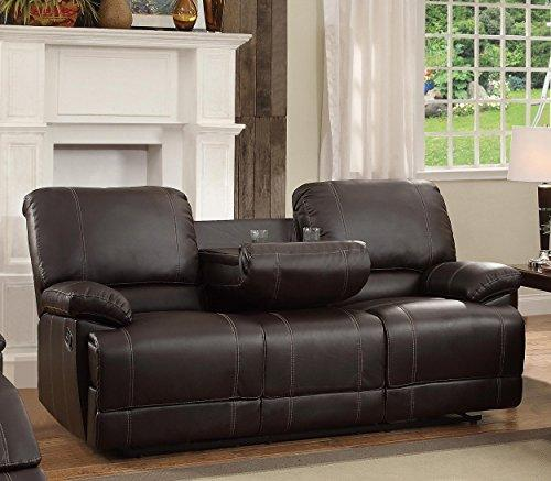 Homelegance Double Reclining Sofa Plush Seating With Drop Down Console Faux Leather Brown