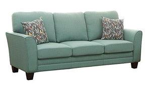 Homelegance 8413Tl-3 Fully Upholstered With Piping Trim Linen Like Fabric Teal Sofa