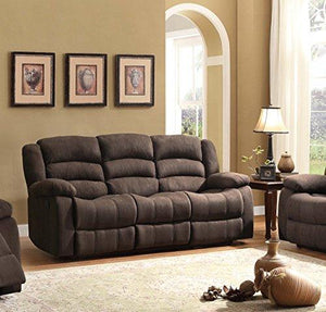 Homelegance 8436Ch-3 Transitional Design Rolled Tufted Reclining Sofa Chocolate