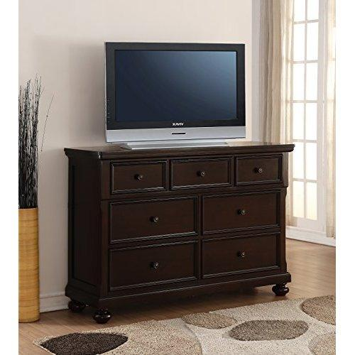 Roundhill Furniture Brishland 7 Drawers Bedroom Dresser, Rustic Cherry