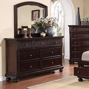 Roundhill Furniture Brishland 7 Drawers Bedroom Dresser And Mirror, Rustic Cherry