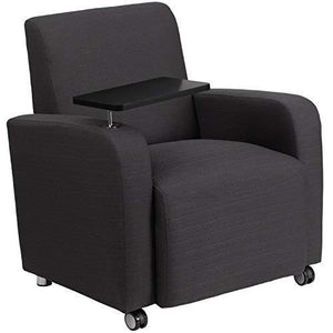 Flash Furniture Gray Fabric Guest Chair With Tablet Arm And Front Wheel Casters