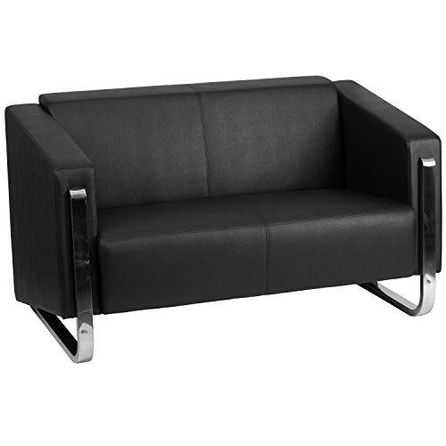 Flash Furniture Hercules Gallant Series Contemporary Leather Loveseat With Stainless Steel Frame, Black