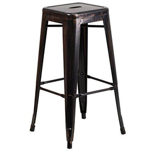 Flash Furniture 30 High Backless Black-Antique Gold Metal Indoor-Outdoor Barstool With Square Seat
