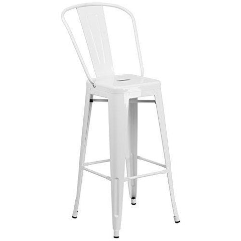 Flash Furniture 30 High White Metal Indoor-Outdoor Barstool With Back
