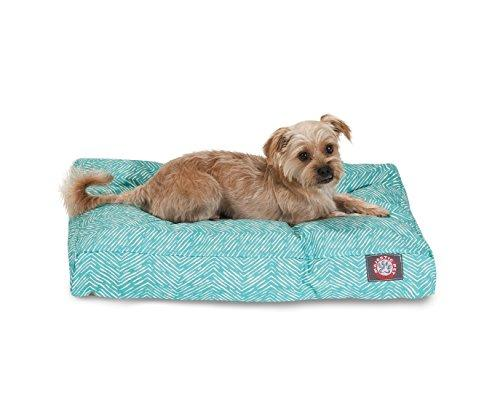 Teal Navajo Small Rectangle Indoor Outdoor Pet Dog Bed With Removable Washable Cover By Majestic Pet Products