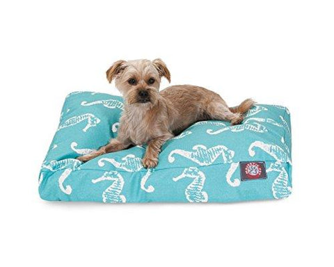 Teal Sea Horse Small Rectangle Indoor Outdoor Pet Dog Bed With Removable Washable Cover By Majestic Pet Products
