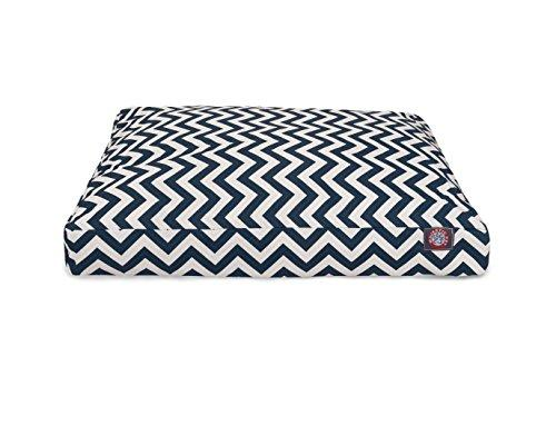 Navy Blue Chevron Small Rectangle Indoor Outdoor Pet Dog Bed With Removable Washable Cover By Majestic Pet Products