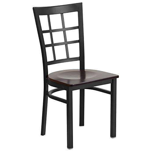 Flash Furniture Hercules Series Black Window Back Metal Restaurant Chair - Walnut Wood Seat