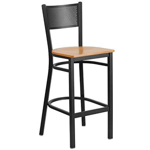 Flash Furniture Hercules Series Black Grid Back Metal Restaurant Barstool - Natural Wood Seat