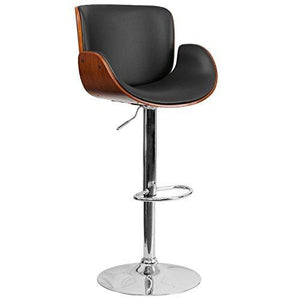 Flash Furniture Walnut Bentwood Adjustable Height Barstool With Curved Black Vinyl Seat