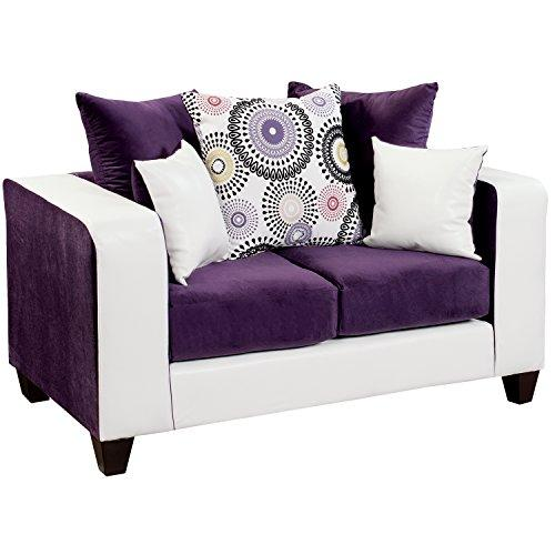 Flash Furniture Riverstone Implosion Velvet Loveseat, Purple