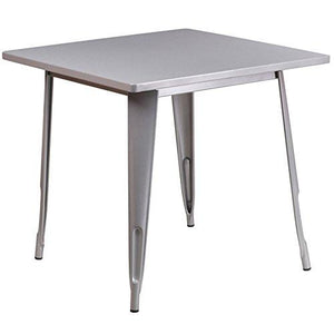 Flash Furniture Square Metal Indoor Table, 31.5, Silver