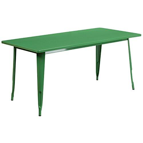 Flash Furniture Et-Ct005-Gn-Gg Rectangular Green Metal Indoor Table, 31.5 X 63