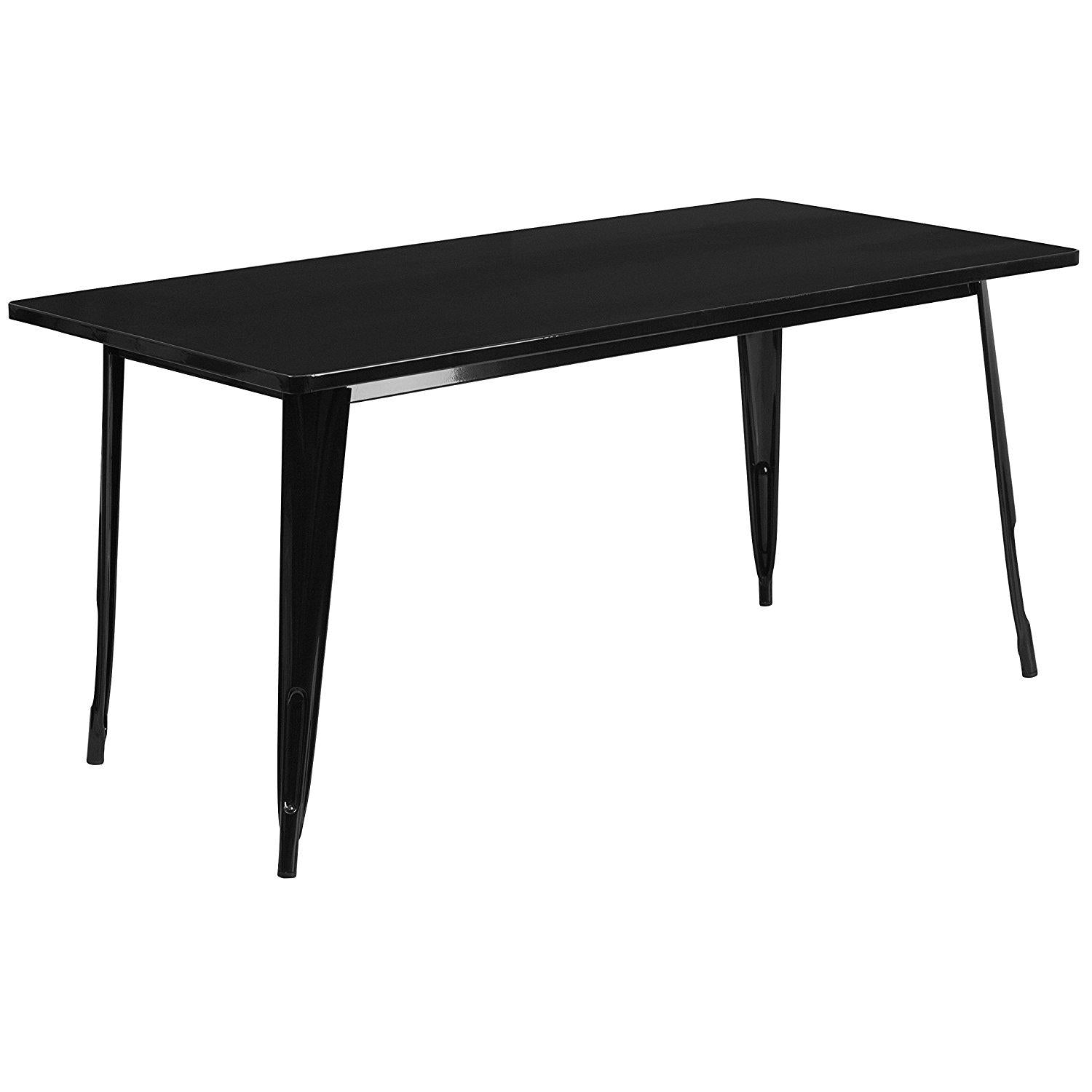 Flash Furniture Et-Ct005-Bk-Gg Rectangular Black Metal Indoor Table, 31.5 X 63