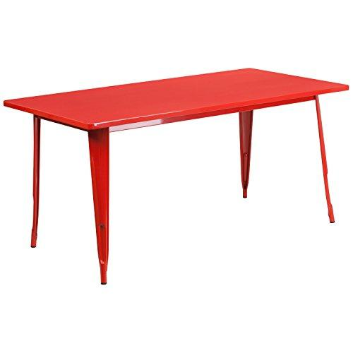 Flash Furniture Et-Ct005-Red-Gg Rectangular Red Metal Indoor Table, 31.5 X 63