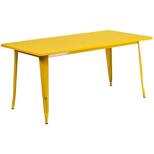 Flash Furniture Et-Ct005-Yl-Gg Rectangular Yellow Metal Indoor Table, 31.5 X 63
