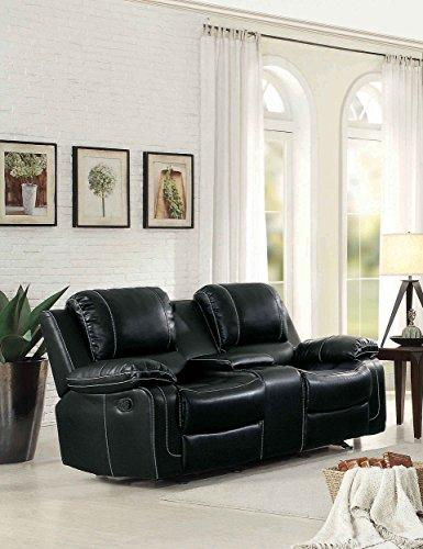 Homelegance Oriole Double Glider Reclining Loveseat Air Hyde Breathable Faux Leather With Center Console, Black