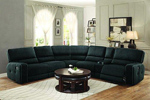 Homelegance Keamey Sectional Sofa With Center Cup Holders Console, Right, And Left End Recliner, Grey