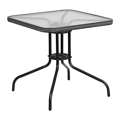 Flash Furniture Tlh-073R-Gy-Gg Square Tempered Glass Metal Table With Gray Rattan Edging, 28