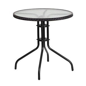 Flash Furniture Tlh-087-Bk-Gg Round Tempered Glass Metal Table With Black Rattan Edging, 28