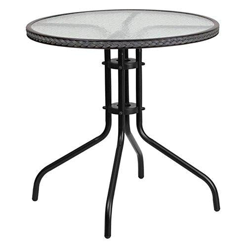 Flash Furniture TLH-087-GY-GG Round Tempered Glass Metal Table with Gray Rattan Edging, 28