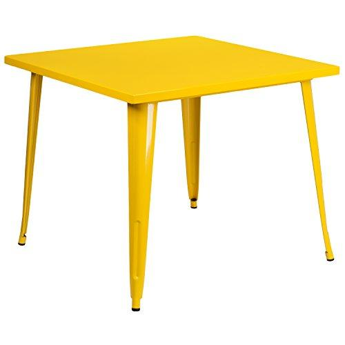 Flash Furniture Square Yellow Metal Indoor-Outdoor Table, 35.5