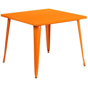 Flash Furniture Square Orange Metal Indoor-Outdoor Table, 35.5