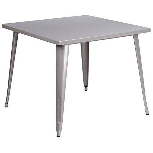 Flash Furniture Square Silver Metal Indoor-Outdoor Table, 35.5