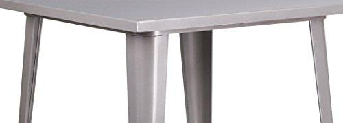 Flash Furniture Square Bar Height Silver Metal Indoor-Outdoor Table, 31.5