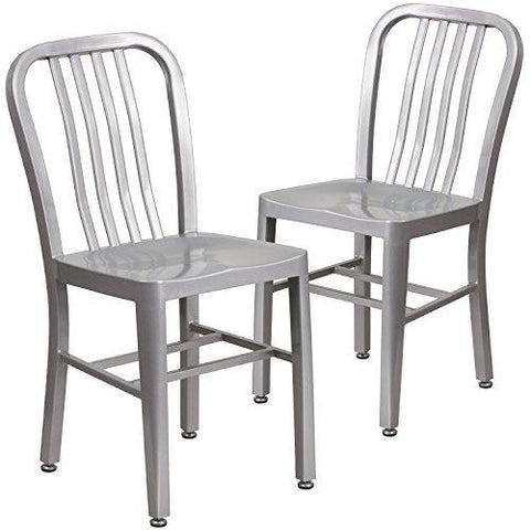 Flash Furniture 2 Pk. Silver Metal Indoor-Outdoor Chair