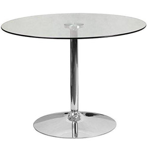 Flash Furniture 39.25 Round Glass Table With 29 Chrome Base