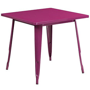 Flash Furniture Et-Ct002-1-Pur-Gg 31.5 Square Purple Metal Indoor-Outdoor Table