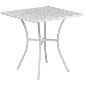 Flash Furniture 28 Square White Indoor-Outdoor Steel Patio Table