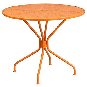 Flash Furniture 35.25 Round Orange Indoor-Outdoor Steel Patio Table