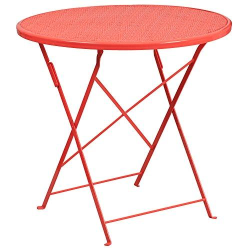 Flash Furniture 30 Round Coral Indoor-Outdoor Steel Folding Patio Table