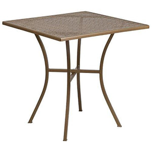 Flash Furniture 28 Square Gold Indoor-Outdoor Steel Patio Table