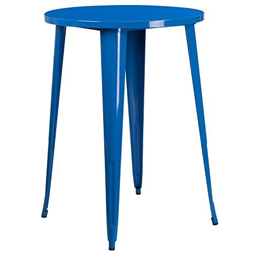 Flash Furniture 30 Round Blue Metal Indoor-Outdoor Bar Height Table
