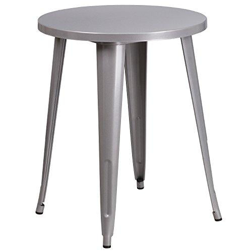 Flash Furniture 24 Round Silver Metal Indoor-Outdoor Table
