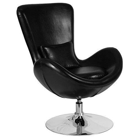 Flash Furniture Egg Series Black Leather Side Reception Chair
