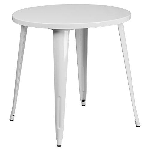 Flash Furniture 30 Round White Metal Indoor-Outdoor Table